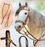 Complete set of Portugues or Baroque Cortezia DOUBLE bridle with matching breastplate & crupper